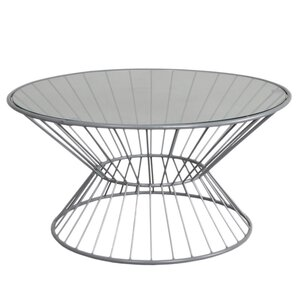 Wire Coffee Table with Glass T..