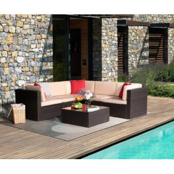Wrought Studio Berends 7 Piece Rattan Sectional Seating Group With Cushions Reviews Wayfair