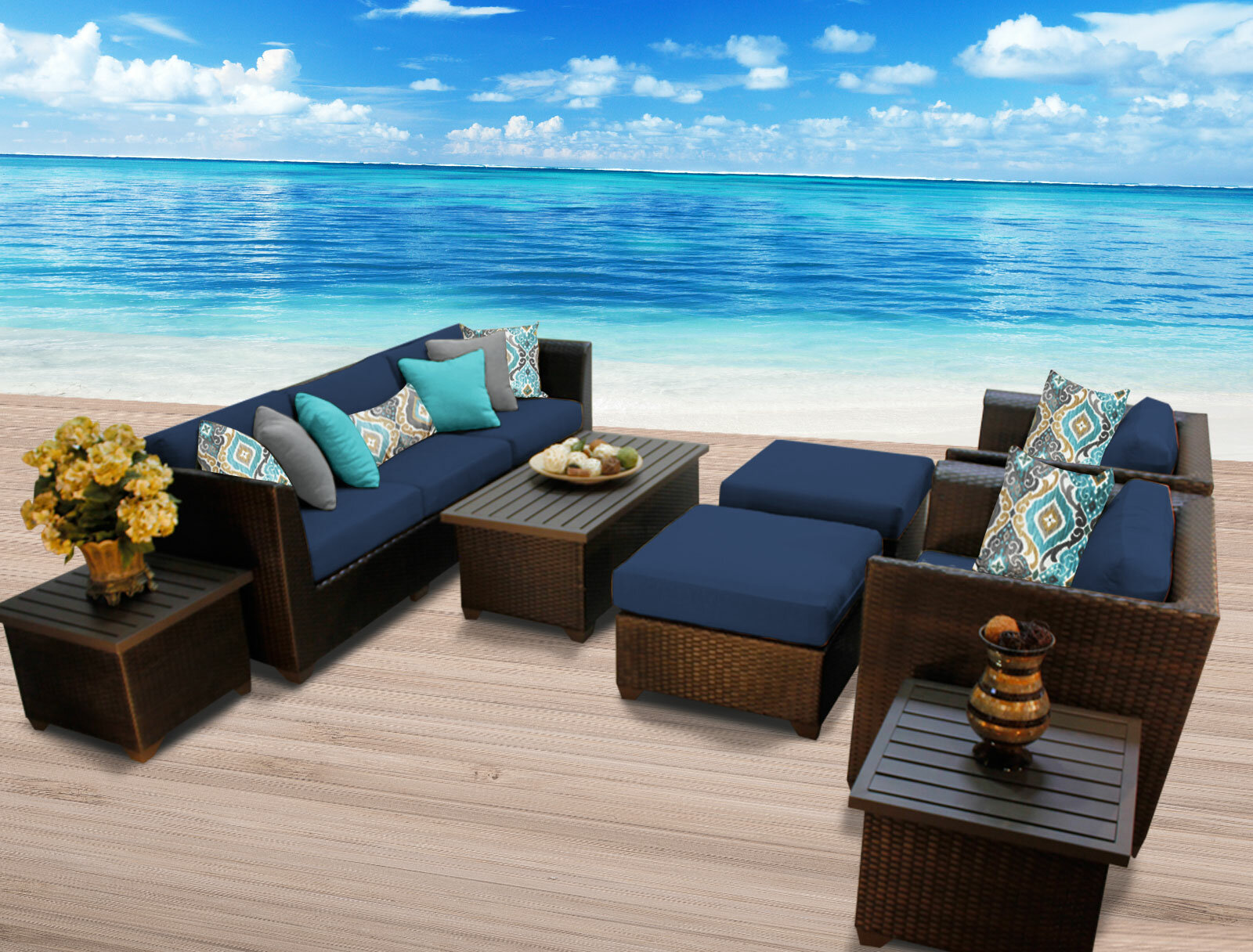 Sol 72 Outdoor Tegan 10 Piece Sectional Seating Group With Cushions Reviews Wayfair