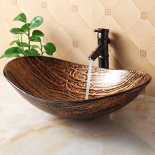 Affordable Hot Melted Tree Bark Boat Glass Oval Vessel Bathroom Sink By Elite