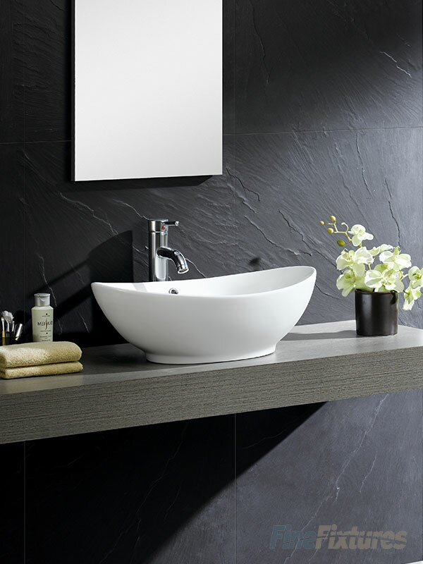 Modern Ceramic Oval Vessel Bathroom Sink With Overflow