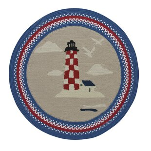 Wieland Maritime Lighthouse Hand-Braided Blue/Ruby Area Rug by Breakwater Bay