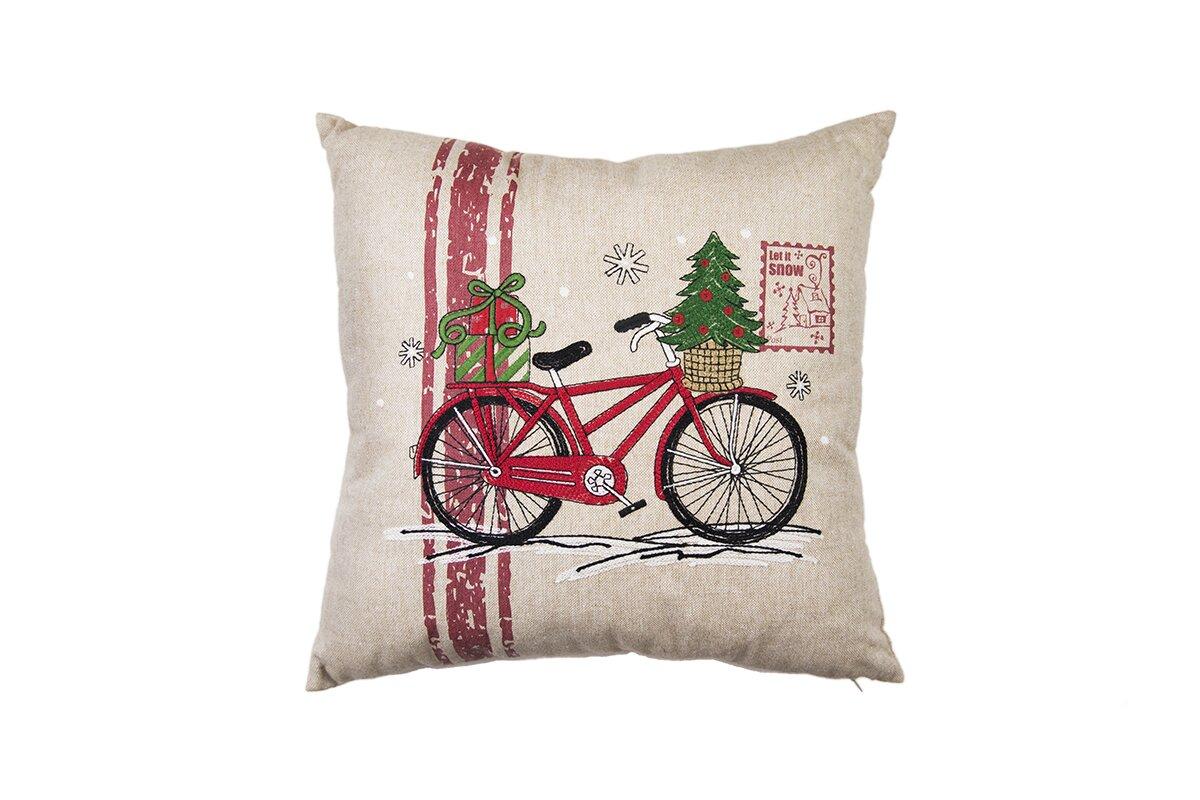 The Holiday Aisle Christmas Bike Throw Pillow