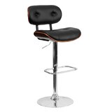 Nuno Bentwood Adjustable Height Swivel Bar Stool by Orren Ellis