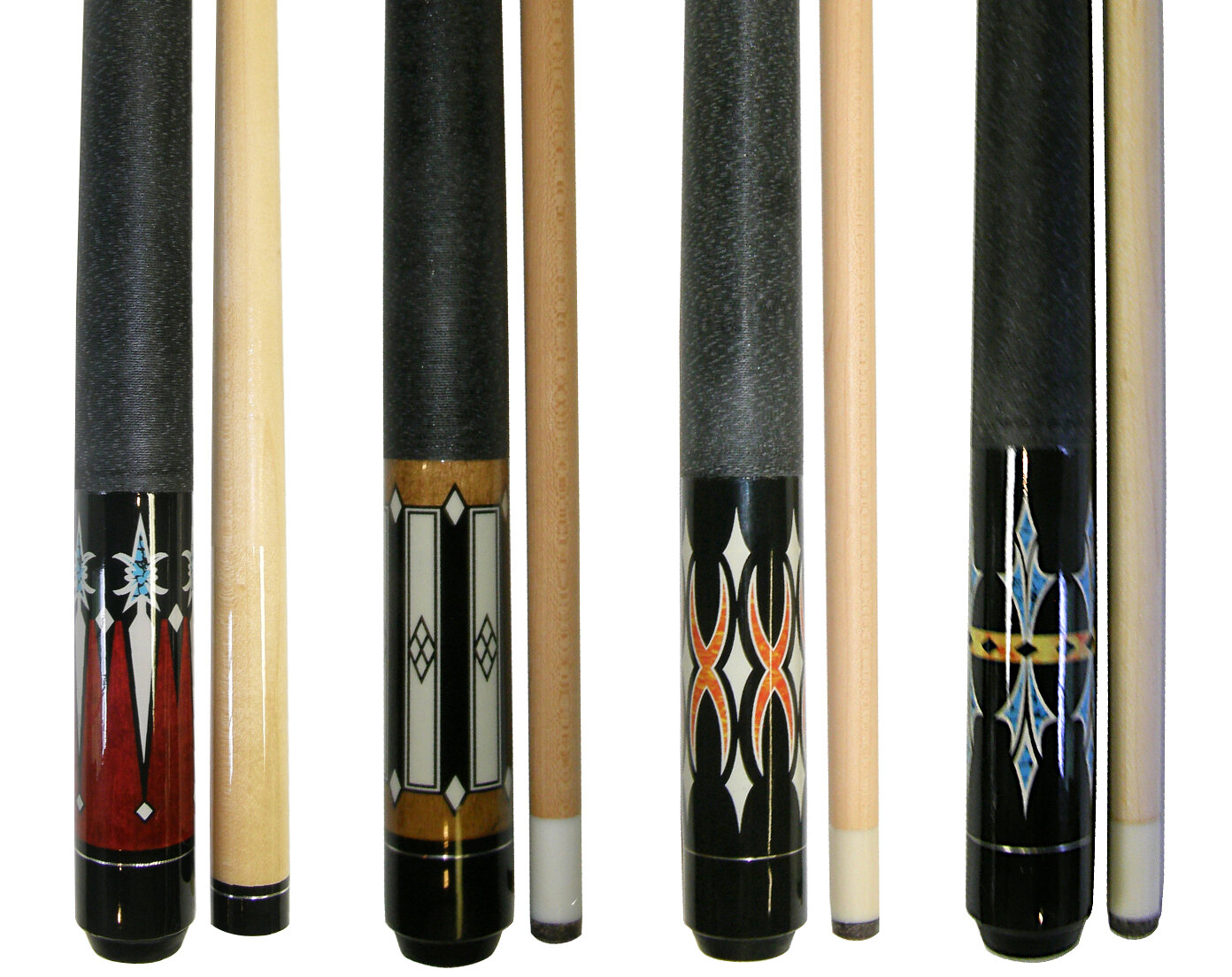 Pool Cues Billiard Cue Sticks Hardwood Wooden House Bar Use 58 Inch Pack of 4