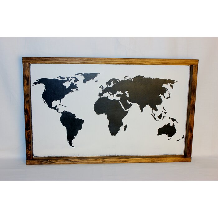 Bungalow rose world map framed textual art on wood reviews world map framed textual art on wood gumiabroncs Image collections