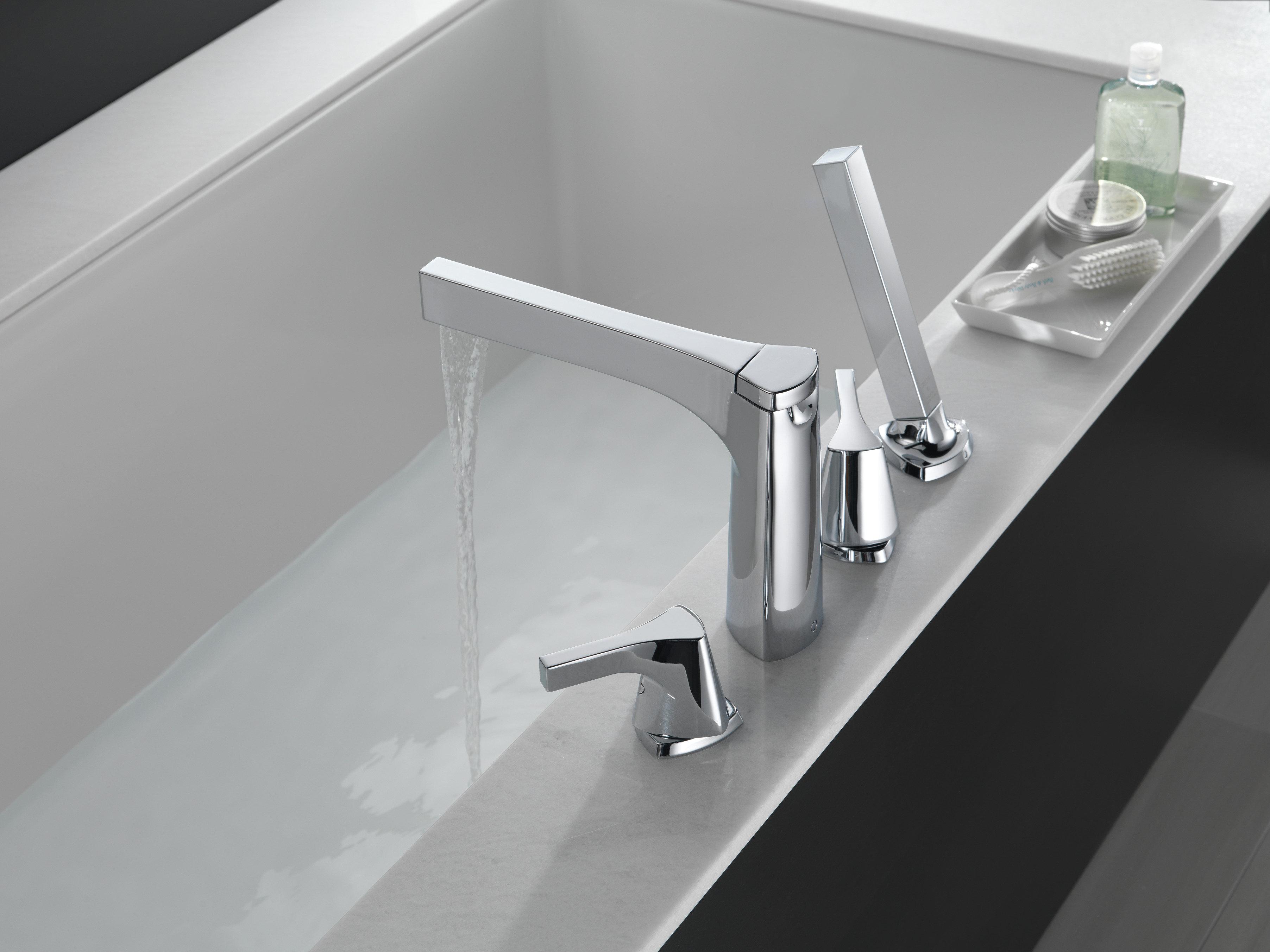 Delta Zura Double Handle Deck Mounted Roman Tub Faucet Trim With Handshower Wayfair