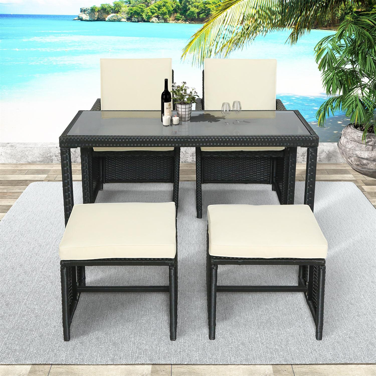 Latitude Run Outdoor Rattan Wicker Patio Dining Table Set Garden Outdoor Patio Furniture Sets Wayfair Ca