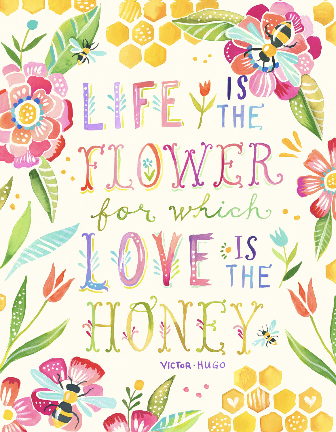 Wheatpaste Love Is The Honey By Katie Daisy Textual Art On Canvas Wayfair