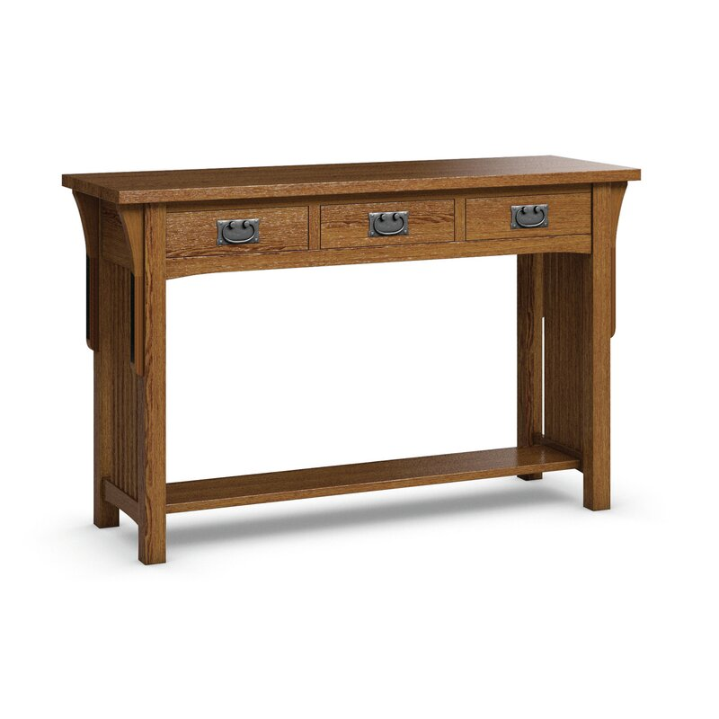 Caravel FLW Sofa Table With Three Drawers  Color: Mission