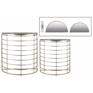 Abramson Half Moon 2 Piece Console Table Set With Mirror Top By ...