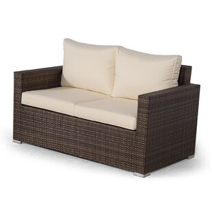Giardino Brown Rattan 2 Seater Sofa Loveseat Outdoor Patio Garden Furniture With Cover Image