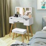Keneisha Vanity Set with Stool and Mirror by Wrought Studio™