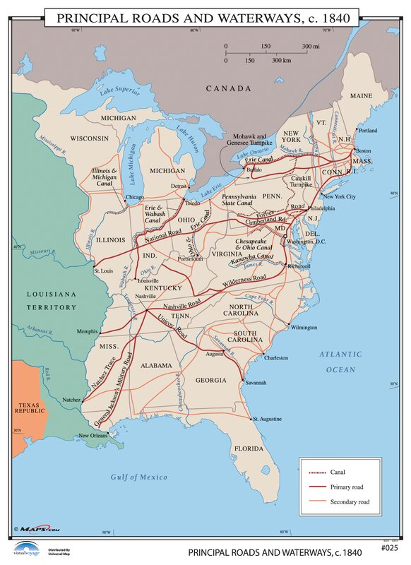 Universal Map US History Wall Maps Principal Roads Waterways - Us waterways map