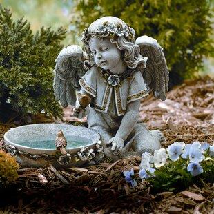 Roman, Inc. Angel Seated Solar and Lighted Birdbath
