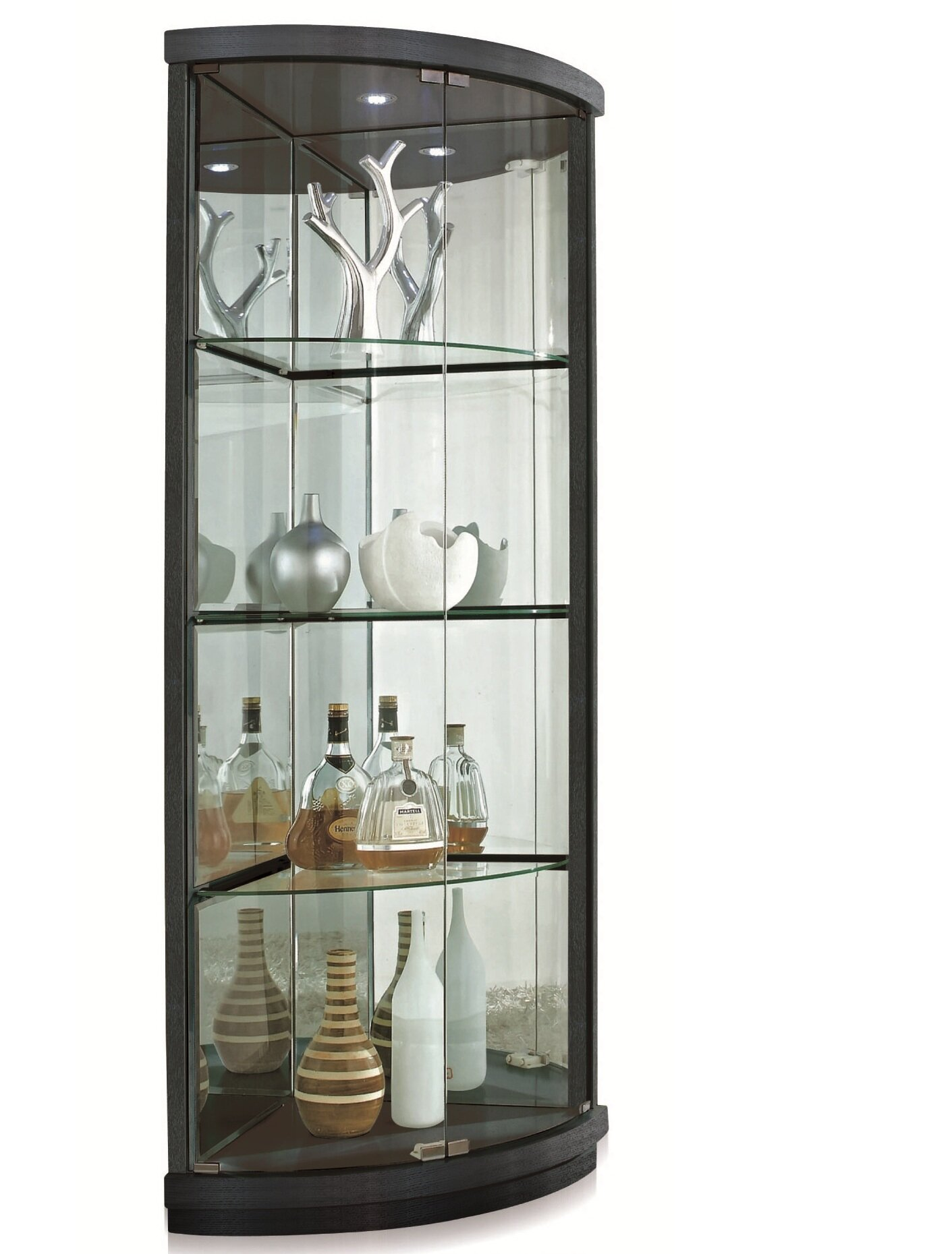 lighted curio antique for corner bowed stunning cabinet cabinets glass cortland intended oak