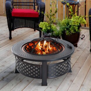 Outsunny Steel Wood Burning Fire Pit with..