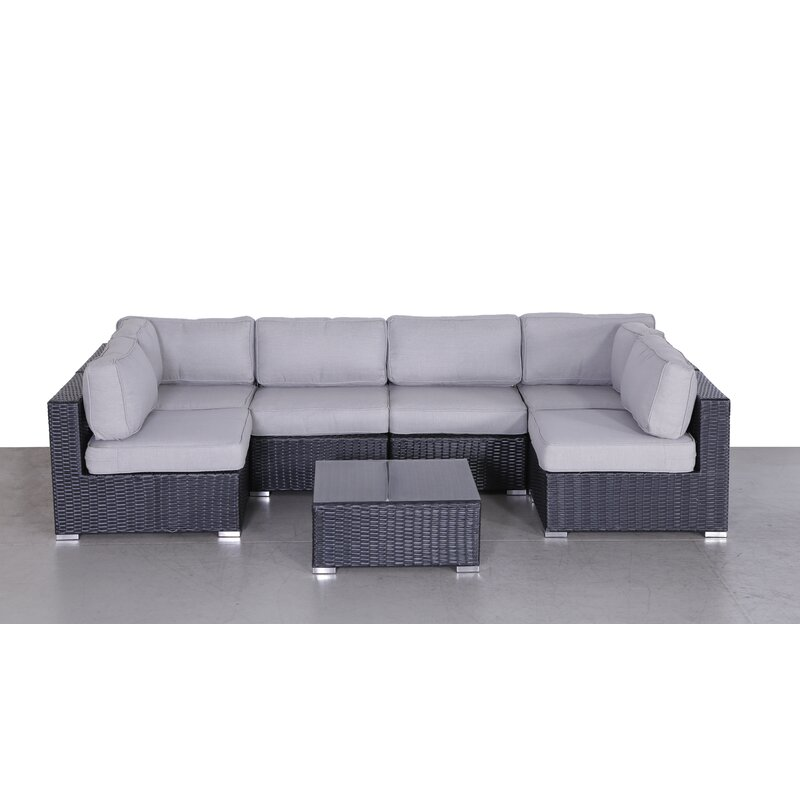Deandra 7 Piece Rattan Sectional Seating Group With Cushions Reviews Joss Main