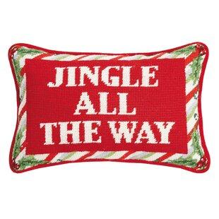 Blythdale Jingle All the Way Needlepoint Lumbar Pillow