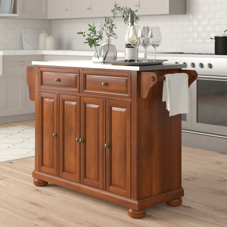 Three Posts Haslingden 51 5 Kitchen Island With Stainless Steel Top And Locking Wheels Reviews Wayfair