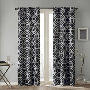 Keilen Geometric Semi Sheer Single Curtain Panel