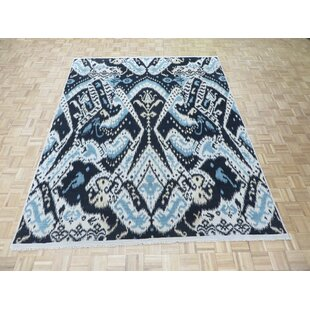 Shop For One-of-a-Kind Pellegrino Ikat Hand-Knotted Wool Black Area Rug By Bloomsbury Market