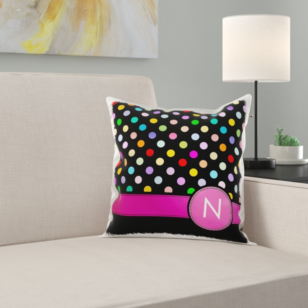 Trinx Letter Monogrammed On Rainbow Polka Dots Pattern Personal Initial Pillow Cover Wayfair
