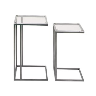 Metal and Acrylic 2 Piece End Table