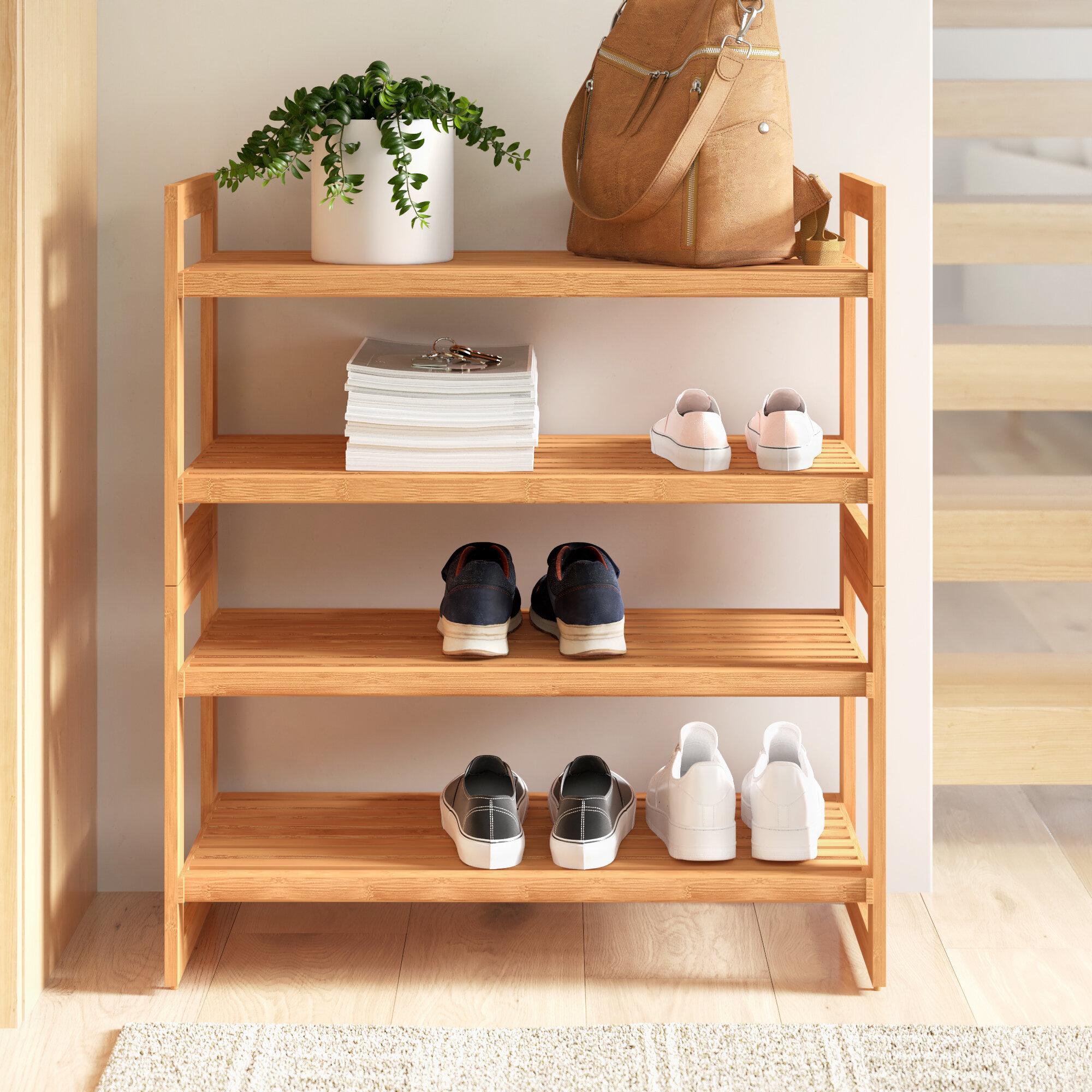 4 Tier Shoe Rack Natural Wood Slated Shelf Storage Organiser Stand Unit Holder