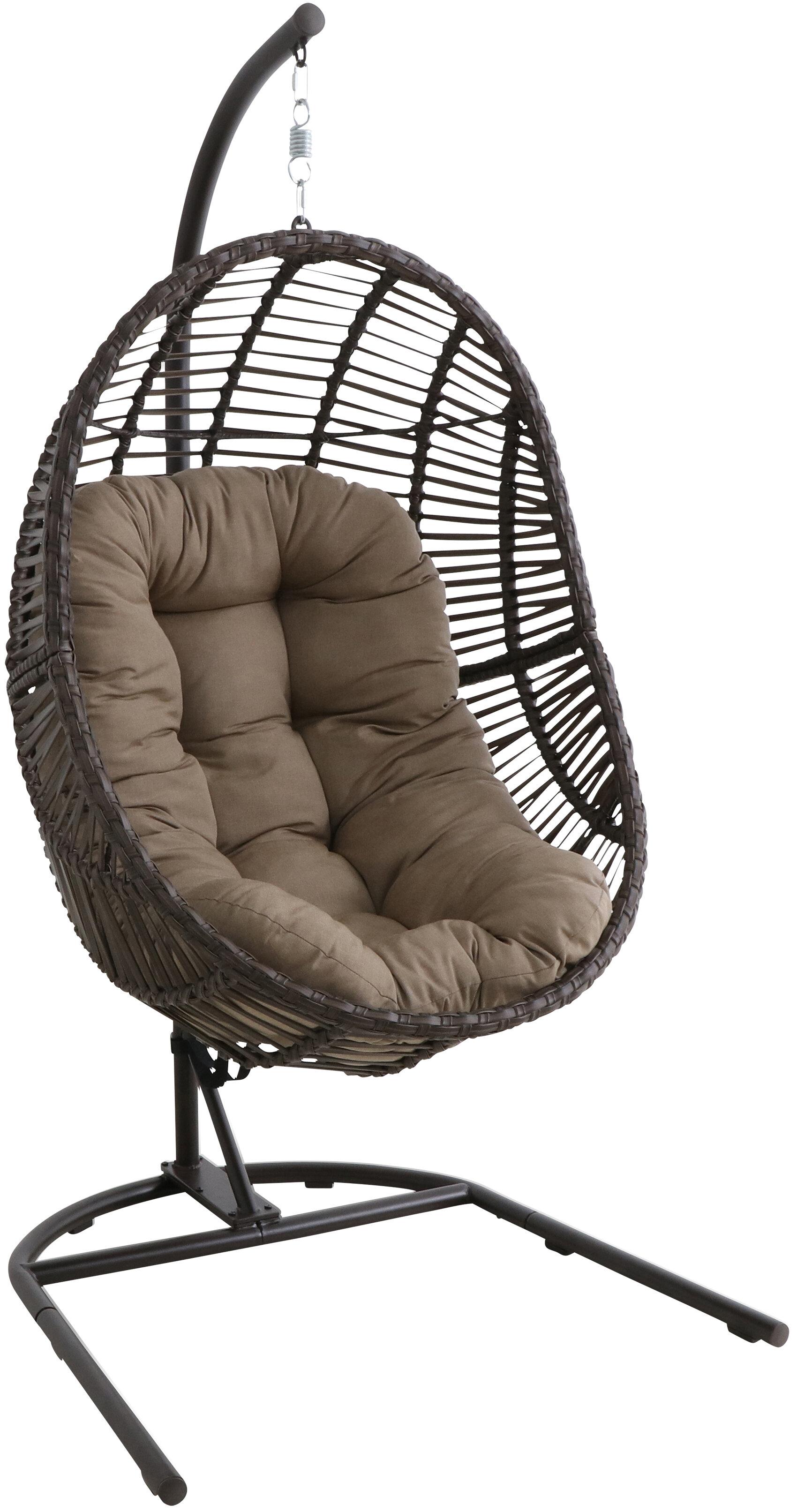 Mid Century Rattan Chair, Bayou Breeze Scott Wicker Hanging Egg Swing Chair With Stand Wayfair
