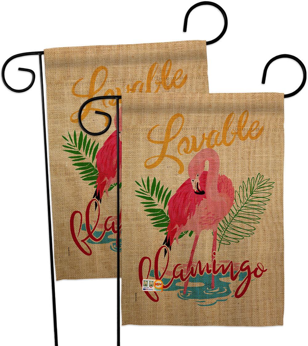 Breeze Decor Lovable Flamingo 2 Sided Polyester 18 5 X 13 In Garden Flag Wayfair