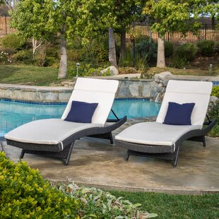 Three Posts Lenahan Metal Frame Chaise Lounge with Cushion (Set of 2)