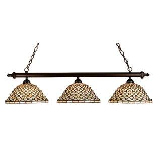 Read Reviews Tiffany Diamond and Jewel 3-Light Pool Table Light By Meyda Tiffany