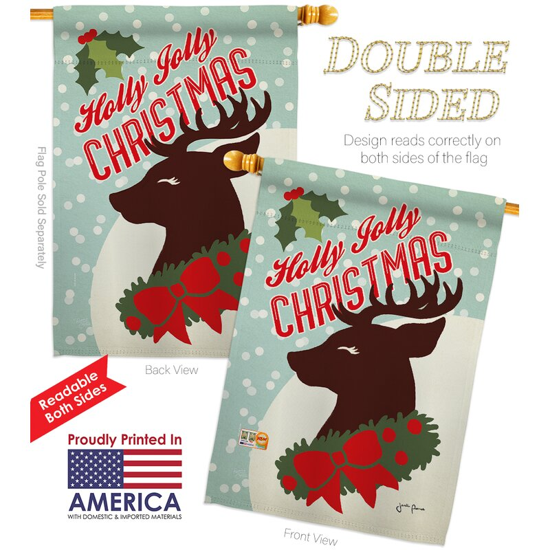 Breeze Decor Holly Jolly Christmas 2 Sided Polyester 40 X 28 In Flag Set Wayfair