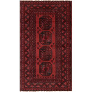 One-of-a-Kind Amata Hand-Knotted Wool Red/Black Area Rug Isabelline
