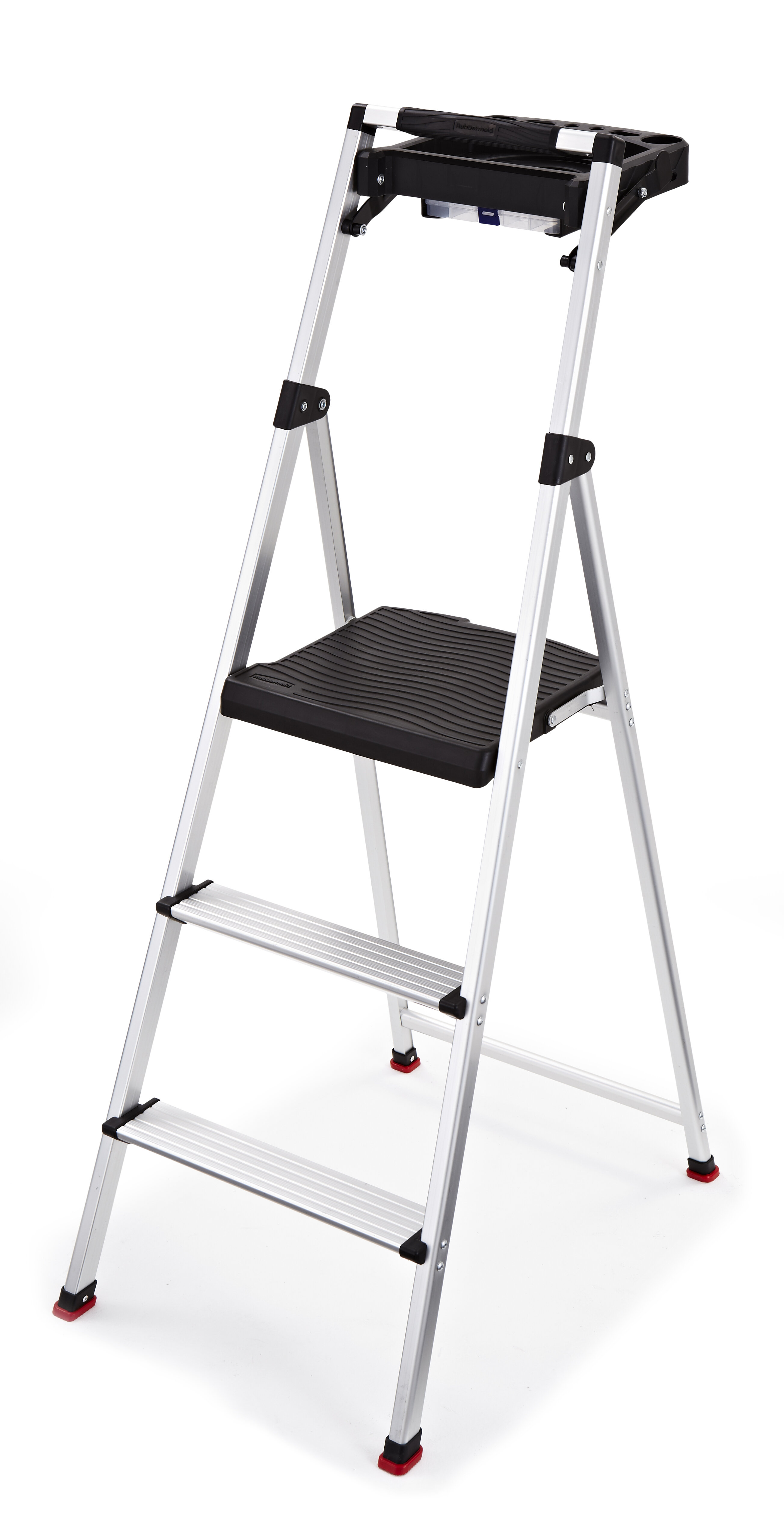 Rubbermaid 3 Step Aluminum Step Stool With 225 Lb Load Capacity