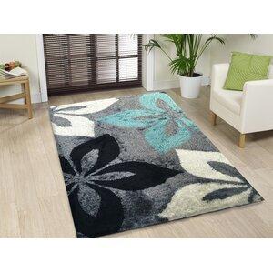 Lo-La Hand-Tufted Gray/Turqoise Indoor/Outdoor Area Rug