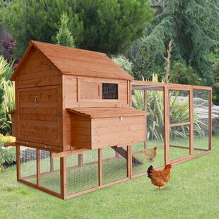 Large Backyard Chicken House With Chicken Run By Pawhut
