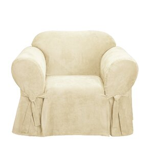 Soft Suede Box Cushion Armchair Slipcover by..