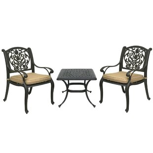 Fleur De Lis Living Champlost 3 Piece Bistro Set with Sunbrella Cushions