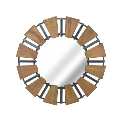 17 Stories Couey Contemporary Style Wood Accent Mirror with Metal Accents