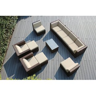 Wade Logan Baril 11 Piece Rattan Sunbrella Sofa Set with Cushions