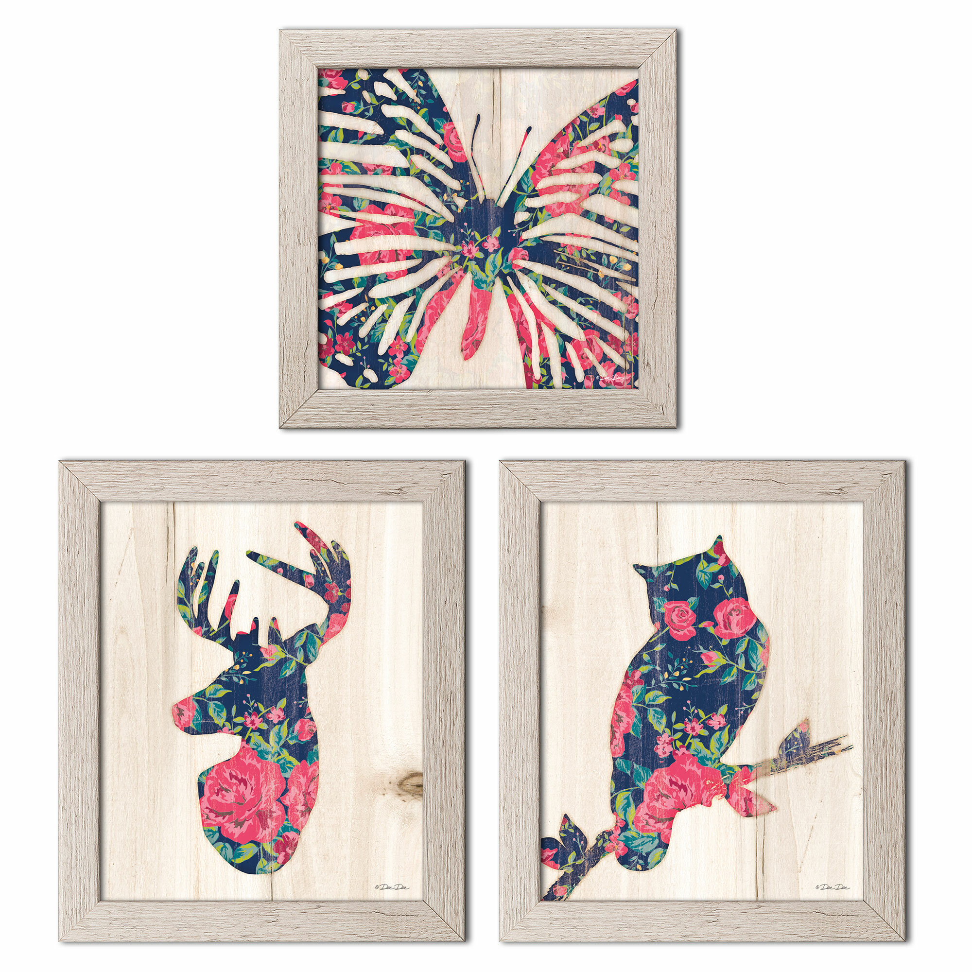August Grove Floral Butterfly Floral Deer And Floral Owl 3 Piece Graphic Art Print Set Wayfair