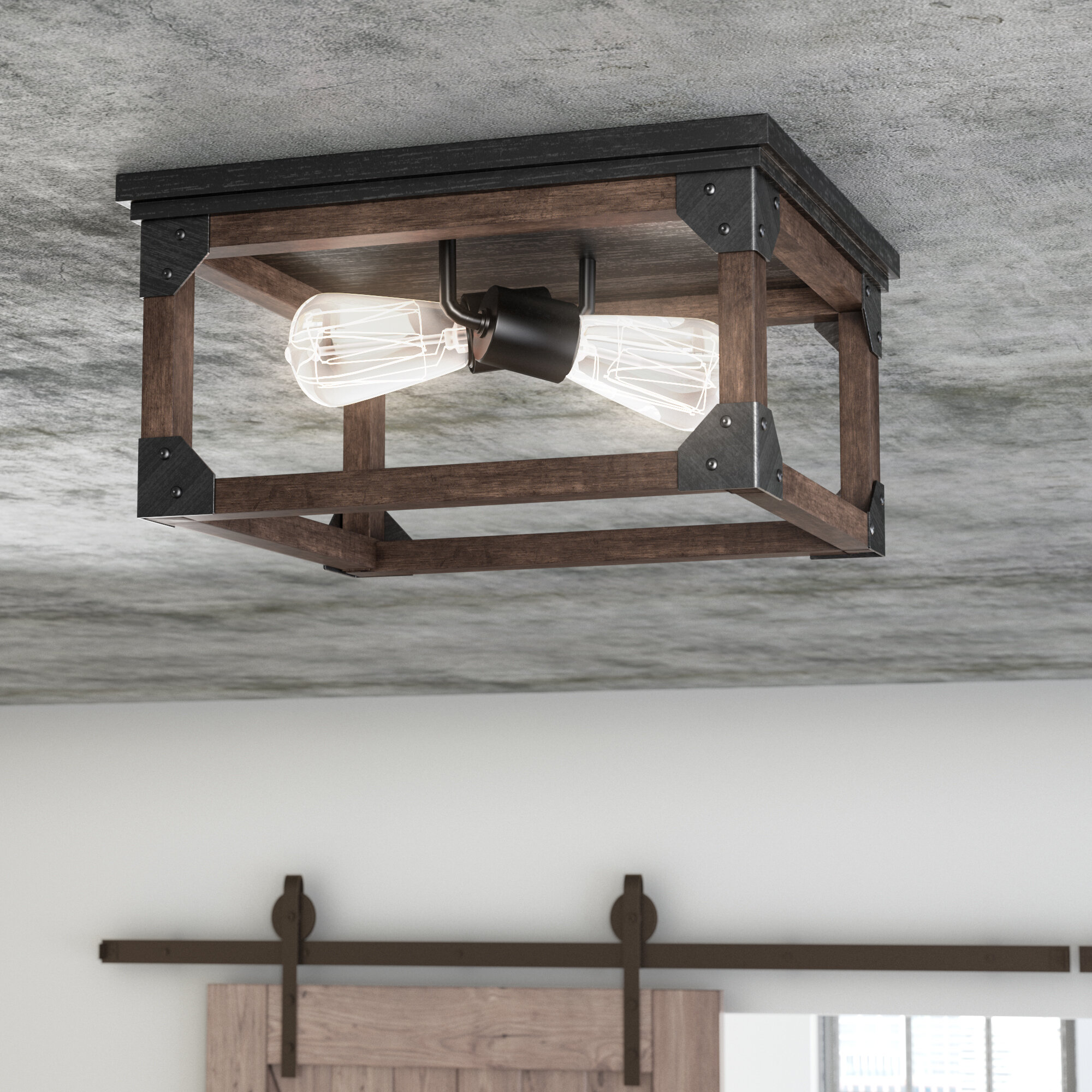Rustic Flush Mount Lighting You Ll Love In 2020 Wayfair
