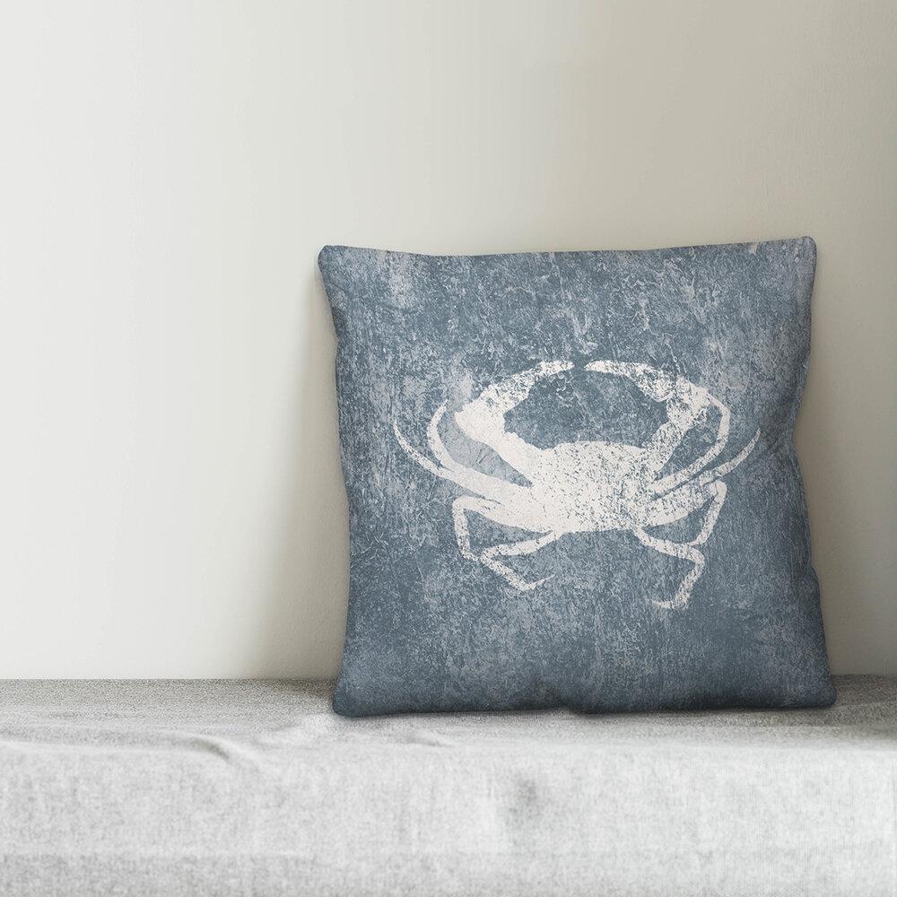 Breakwater Bay Bhavin Textured Blue Crab Throw Pillow Wayfair