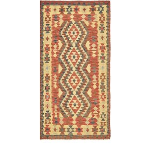 Purchase One-of-a-Kind Doorfield Hand-Knotted Runner 3'3 x 6'5 Wool Red/Yellow Area Rug By Isabelline