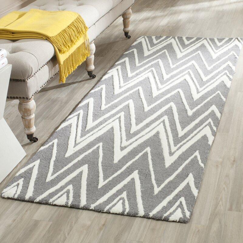 Ebern Designs Daveney Hand Tufted Wool Gray Ivory Area Rug Reviews Wayfair