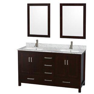 Sheffield 60 Double Espresso Bathroom Vanity Set with Mirror by Wyndham Collection