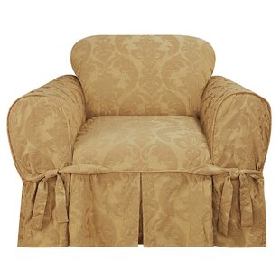 Matelasse Damask Box Cushion Armchair Slipcover