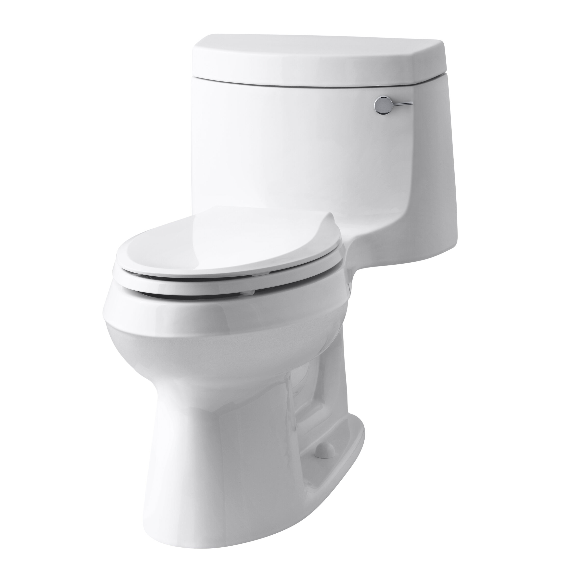 Kohler Cimarron Comfort Height One Piece Elongated 1 28 Gpf Toilet With Aquapiston Flush Technology And Right Hand Trip Lever Wayfair